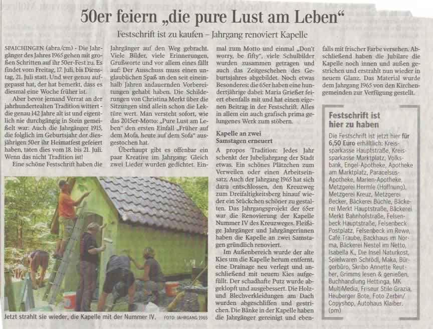Zeitungsbericht Kapelle